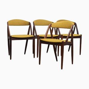 Modell 31 Walnuss Esszimmerstühle in Ocker von Kai Kristiansen, Dänemark, 1960er, 4er Set