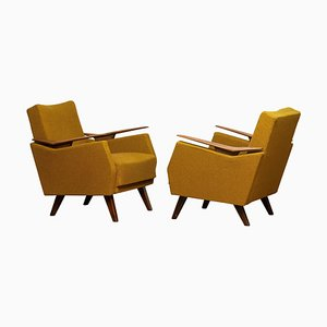 Lounge Chairs with Wooden Armrests, 1950s, Set of 2