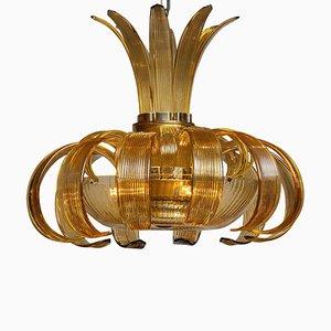 Lampadario grande Art Déco in ambra, anni '50