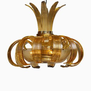 Large Art Deco Chandelier Made of Amber, 1950s