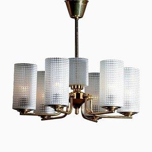 Lampada a sospensione in ottone e vetro di Carl Fagerlund per Orrefors, Svezia, anni '60
