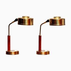 Brass and Teak Table Lamps by BJS Skellefteå, Sweden, 1960s, Set of 2