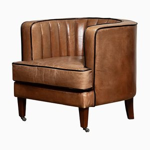 Club chair Art Deco in pelle marrone, Danimarca, anni '50