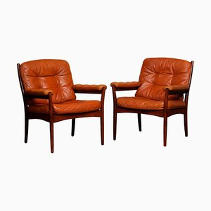 Armchairs in Sturdy Cognac Leather by Göte Möbel, Sweden, 1970s, Set of 2