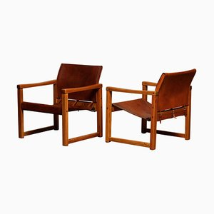 Cognac Leather Safari Model Diana Armchairs by Karin Mobring for Ikea, Sweden, Set of 2
