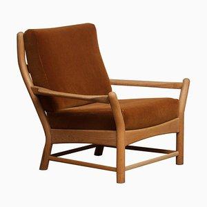 Oak and Brown Velvet Lounge Chair, Denmark, 1950s