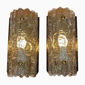 Applique in ottone e cristallo di Carl Fagerlund per Orrefors, Svezia, anni '60, set di 2