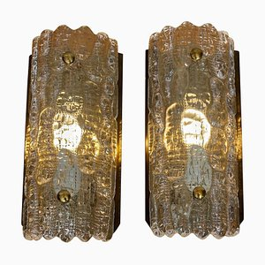 Brass and Crystal Sconces by Carl Fagerlund for Orrefors, Sweden, 1960s, Set of 2