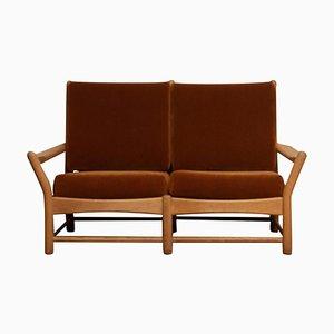 Oak and Brown Velvet Sofa, Denmark, 1950s