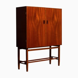 Slim Mahogany Dry Bar / Cabinet by Forenades Mobler, Sweden, 1950s