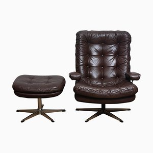 Brown Leather and Chrome Swivel Lounge Chair with Ottoman, Sweden, 1970s, Set of 2
