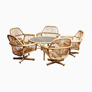 Rattan Garden Set / Lounge Set and Coffee Table, 1960s, Set of 6