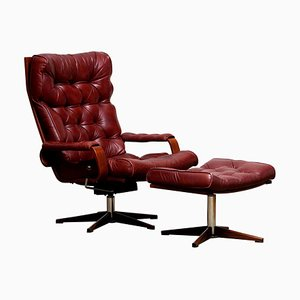 Bordeaux / Brown Rocking Swivel Lounge Chair and Ottoman from Kropp, 1970s, Set of 2