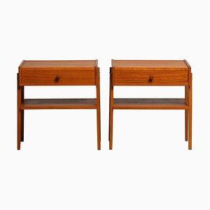 Tables de Chevet en Teck de Carlström & Co Möbelfabrik Sweden, 1950s, Set de 2
