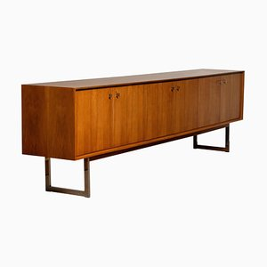 Wide Sideboard in Walnut with Chrome Handles and Legs, 1970s