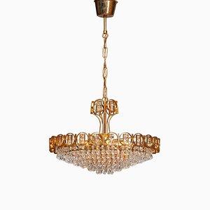 Lampadario in ottone placcato in oro con cristalli sfaccettati di Palwa, Germania, anni '70