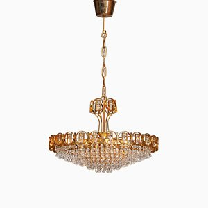 Vergoldeter Messing Kronleuchter mit facettierten Kristallen von Palwa, 1970er