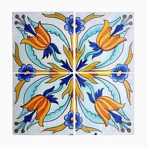 Antique Handmade Ceramic Tile from Devres, France, 1910s