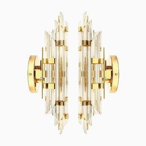 Applique Venini in vetro di Murano e placcate in oro, Italia, set di 2