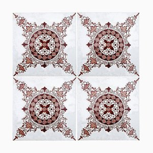 Antique Dark Red / Brown Ceramic Tiles by Morialme, 1930s