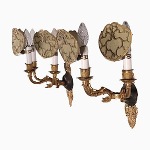 Gilded Bronze Sconces, Italy, 1800s, Set of 2