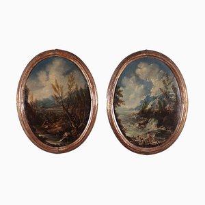 Paesaggi con figure, olio su tela, set di 2