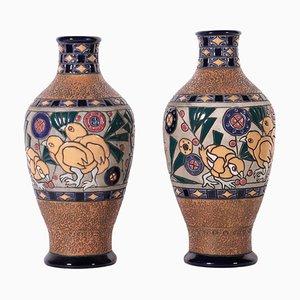 Glazed Ceramic Vases, Set of 2