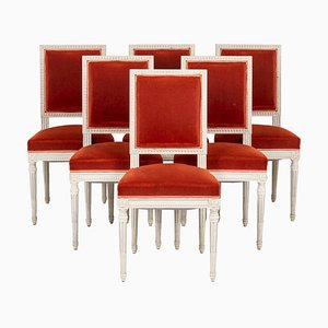 Louis XVI Stühle aus Lackiertem Holz, 1950er, 6er Set