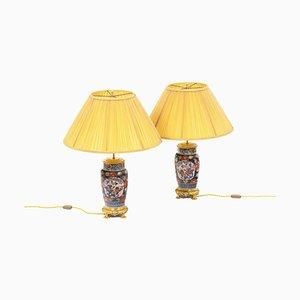 Lampade in porcellana Imari e bronzo dorato, XIX secolo, set di 2