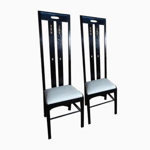 Chaise Art Nouveau à Dossier Haut Laqué Noir par Charles Rennie Mackintosh