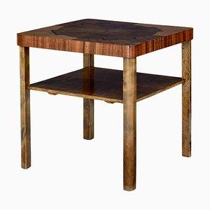 Tavolino da caffè Mid-20th Century in noce e betulla con intarsi