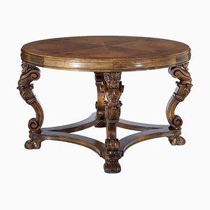 Tavolino da caffè Art Déco in legno di noce intagliato