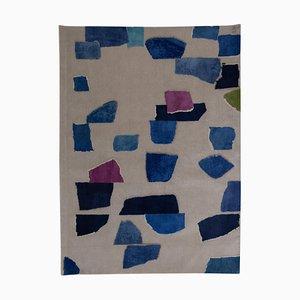 Rhizome blauer handgeknüpfter Teppich in Blau von Charlotte Culot