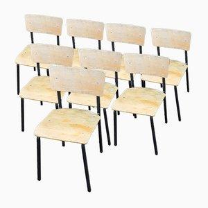 Industrieller Stuhl aus Eisen und Holz