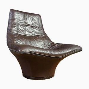 Vintage Leather Swivel Armchair by Gerard Van Den Berg for Montis