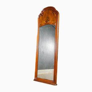 Espejo antiguo grande con borde de madera