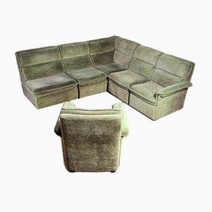 Sofá esquinero modular vintage de terciopelo verde con butacas. Juego de 6