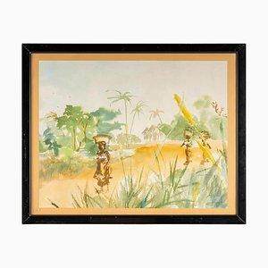 Acuarela africana de paisaje sobre papel Luez