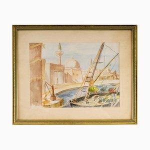 Zeichnungs-Ansicht eines orientalischen Hafens