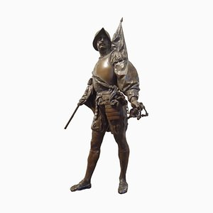 Emile Louis Picault, Conquistadores, Original Skulptur aus Bronze, 1900er