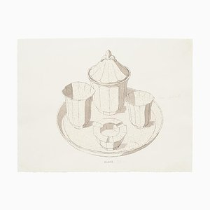 Service Inconnu, Service en Porcelaine, Encre Originale et Aquarelle, Fin 19ème Siècle