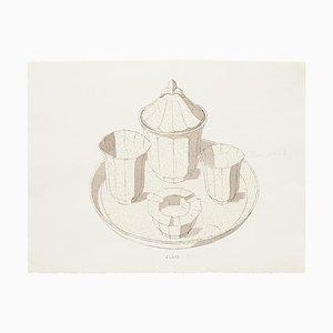 Servicio de porcelana, tinta original, acuarela desconocida, finales del siglo XIX