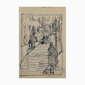Helen Vogt, Straße mit Figuren, Original Bleistift und Tinte, 1929