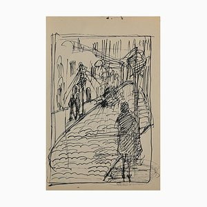 Helen Vogt, Street with Figures, Original Pencil and Ink, 1929