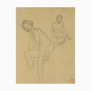 André Meaux Saint-Marc, donna nuda, matita originale, XX secolo