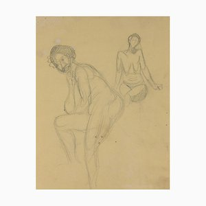 André Meaux Saint-Marc, Naked Woman, Original Pencil, 20th Century