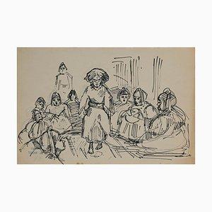 Helen Vogt, donne in Marocco, matita e inchiostro originali, 1935