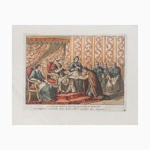 Nach Bartolomeo Pinelli, dem Papst, Original Radierung, 1850