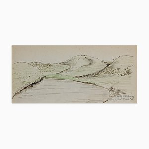 Unknown, Landscape, Original Ink and Pastel Drawing, Mid-20th Century