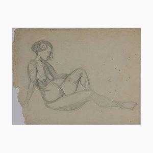 André Meaux Saint-Marc, donna nuda, matita originale, inizio XX secolo